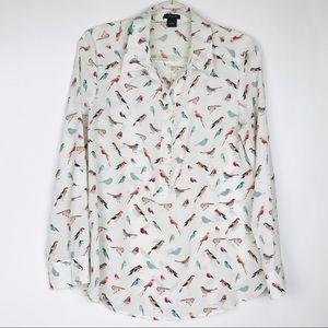 Ann Taylor Medium half button up long sleeve birds